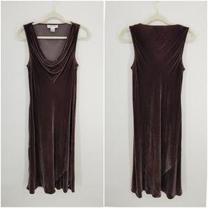 Calvin Klein Velvet Bias Cut Midi Dress Sz 10